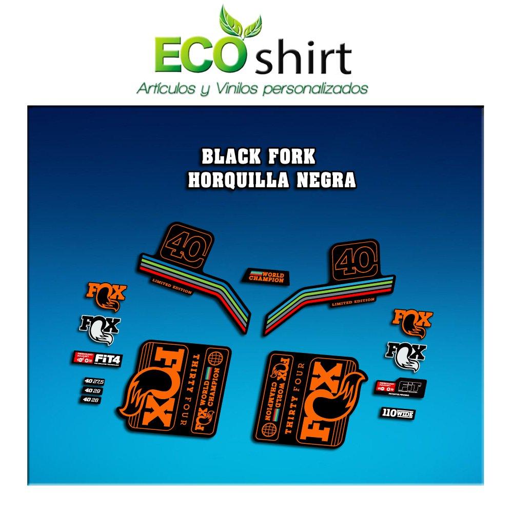 Orange Ecoshirt SP-UFKW-3RJ8 Stickers Fork Fox 40 WC World Champion 2017 Am142 Aufkleber Decals Autocollants Desivi