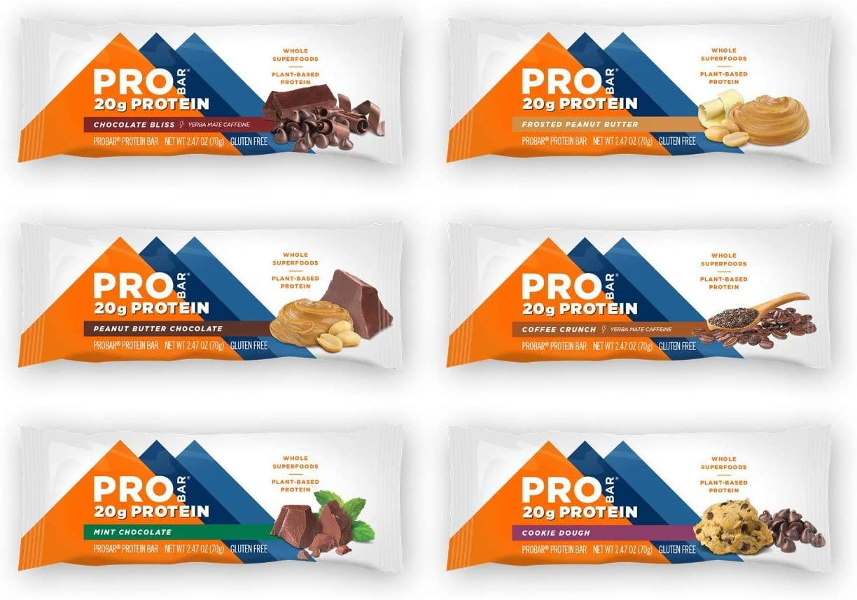 PROBAR - Base Protein Bar, Variety Pack, Non-GMO, Gluten-Free, Healthy, Plant-Based Whole Food Ingredients, Natural Energy, 2.47 oz -Pack of 12