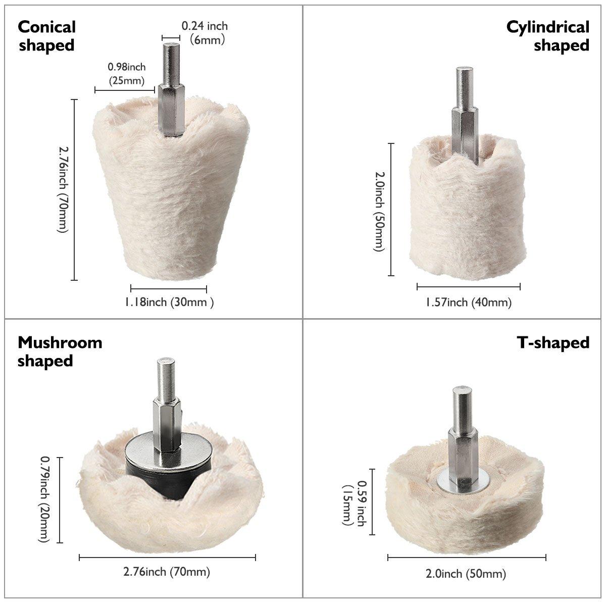 MATCC 4Pcs White Flannelette Polishing Wheel Cone//Column//Mushroom//T-Shaped Wheel Grinding Head with 1//4/'/' Handle for Metal Aluminum,Stainless Steel,Chrome,Jewelry,Wood,Plastic,Ceramic,Glass,etc MATCCYomoid758