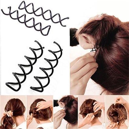 5 piezas/set Negro espiral del Pin de pelo del clip del bollo del palillo
