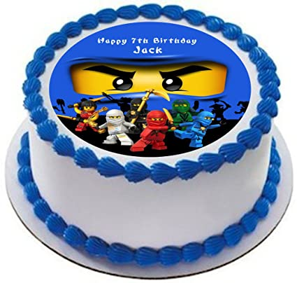 Ninjago Personalized Cake Topper Icing Sugar Paper 75 Ninja Jay Blue Amazoncouk Kitchen Home