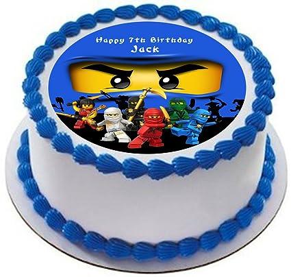 Ninjago Personalized Cake Topper Icing Sugar Paper 7 5 Ninja Jay Blue