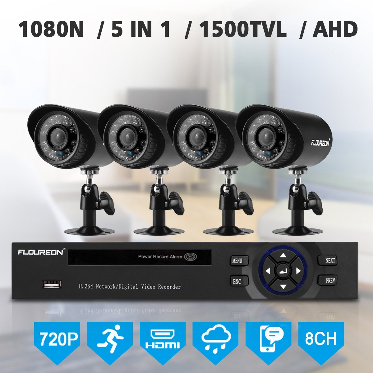 FLOUREON House Security Camera System 1080N DVR + 4 Pack 1.0MP CMOS Lens CCTV Security Camera 1500TVL Night Vision Remote Access Motion Detection (8CH+ 4X 1500TVL Camera) by floureon
