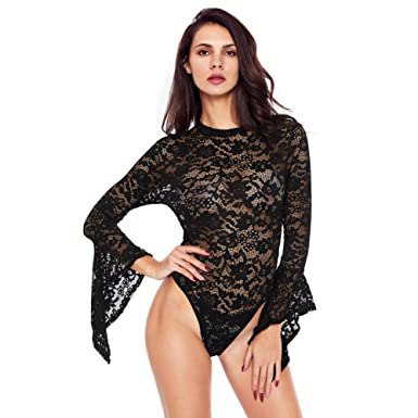 6c81923443889 Amazon.com  Extreme temptation High-Necked Long-Sleeved Lace Backless Sexy  Jumpsuit