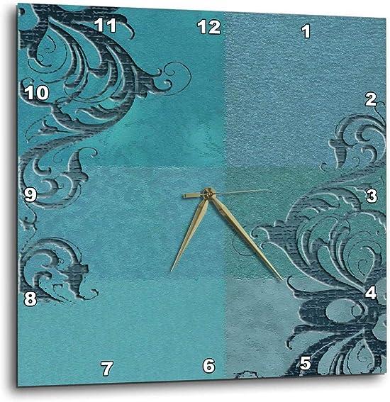3dRose dpp_55088_1 Elegant Vines on Aqua Green-Wall Clock, 10 by 10-Inch