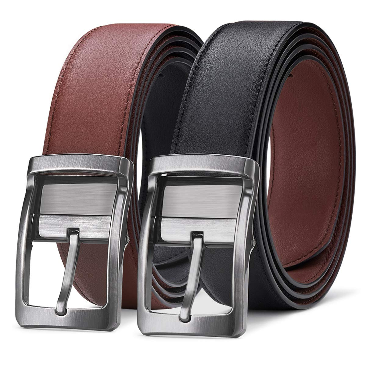 Mens Leather Ratchet Dress Belts with Automatic Buckle in Gift Box