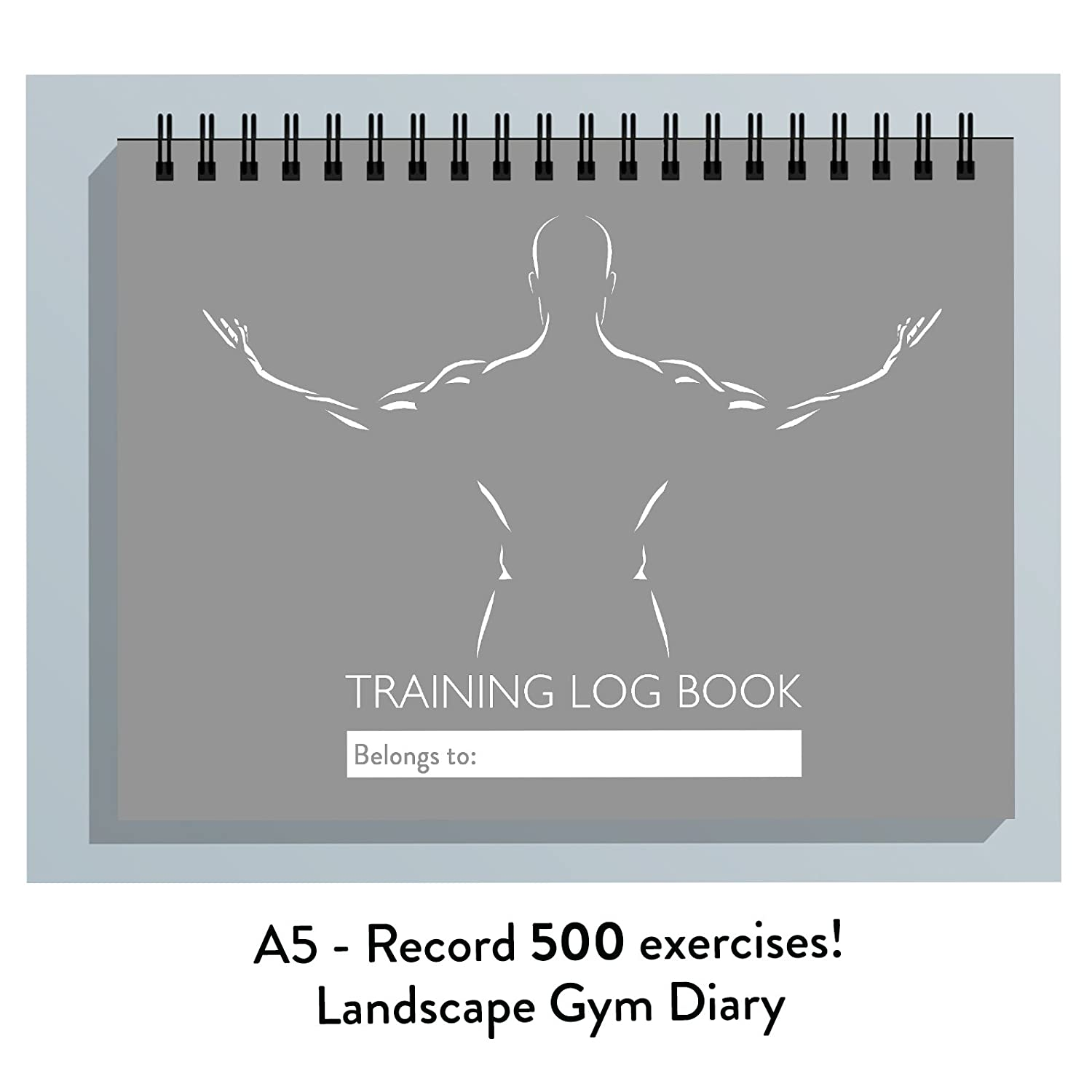 LADIES MEN GYM TRAINING DIARY, 25 PAGED EXERCISE JOURNAL, LOG BOOK,REPS, WEIGHTS (GREY) The Calorie Club