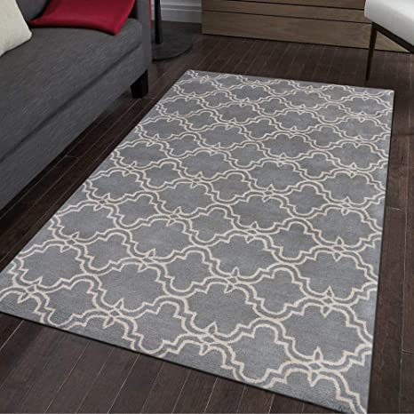 Amazon Com Amer Rugs Dark Grey And Ivory Wool Hand Tufted Modern