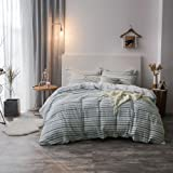 Merryfeel Cotton Duvet Cover Set King Size,100% Cotton Seersucker Stripe Bedding Set,3 Pieces (1 Duvet Cover with 2 Pillowsha
