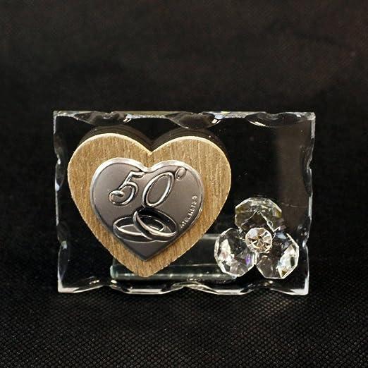 Anniversario Matrimonio Amazon.Dlm26161 Icona In Vetro Con Cuore In Legno E Fiore In Cristallo 50