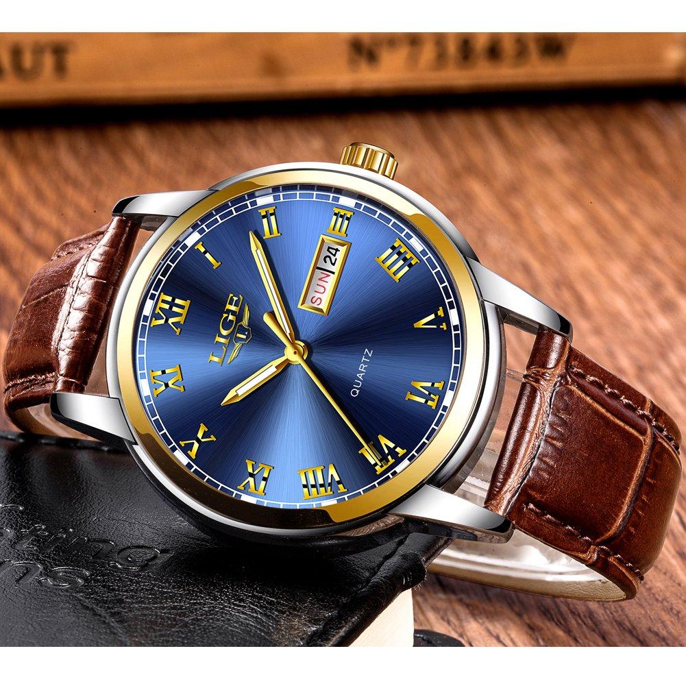 Amazon.com: Mens Sport Quartz Watch Roman Numeral Fashion Analog Luminous Wristwatch with Calendar Date,Waterproof 30M Water Resistant Comfortable Leather ...