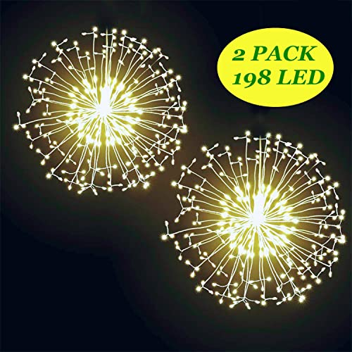 2PACK DIY Bouquet Firework Light-198LED Waterproof Hanging Copper Wear Lights with 8 Modes Remote Control, Christmas Lights for Outdoor Garden Festival Decor Warm Yellow, Battery