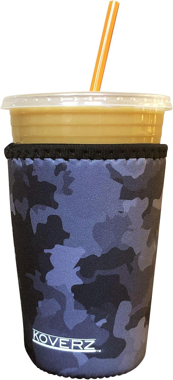 Koverz Neoprene Iced Coffee Java Sleeve - Insulator Sleeve for Cold Beverages, Neoprene Cup Holder - Compatible with Starbucks & McDonald's Coffee - Medium Black Camo