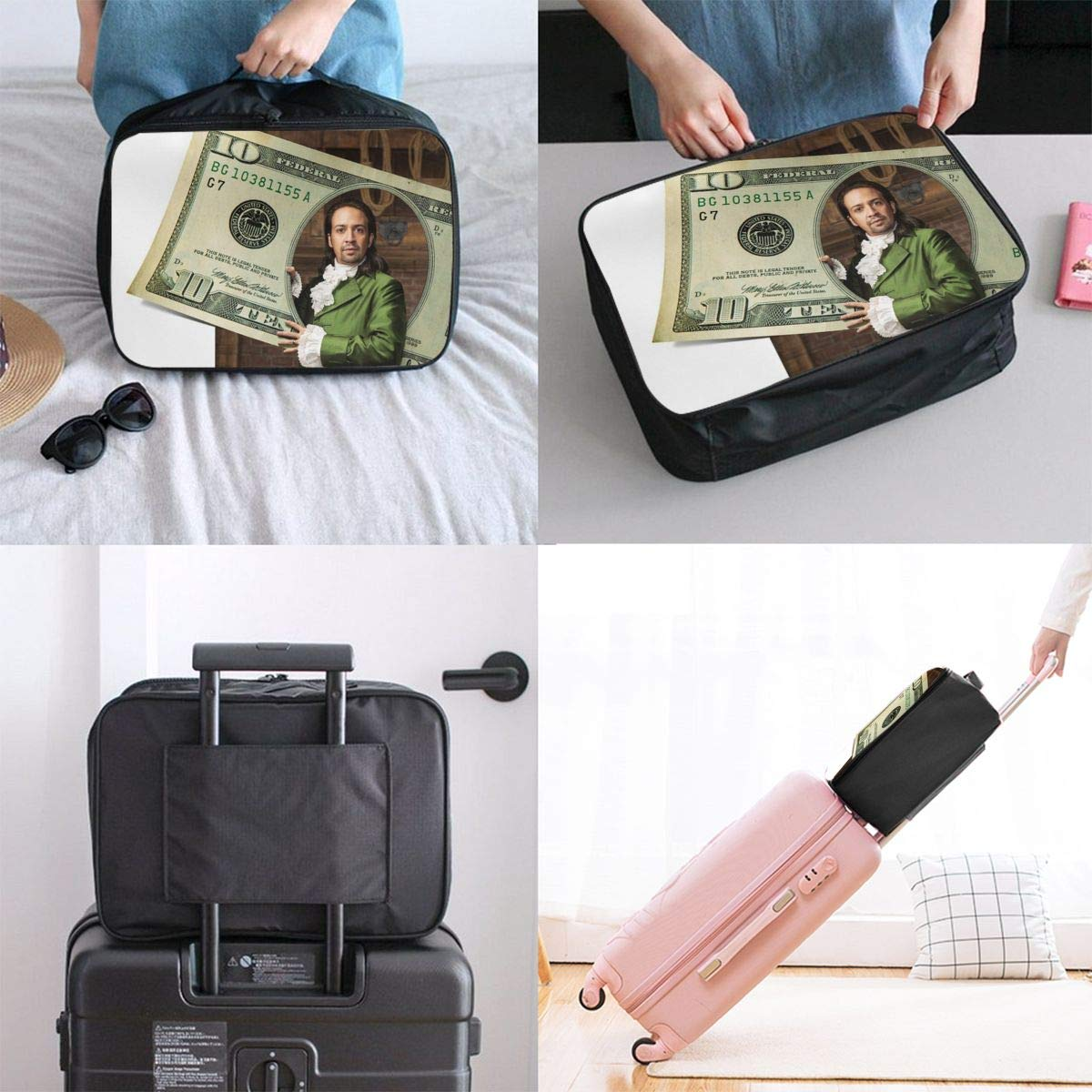 Rha-psodic Ham-ilton American Music Customize Casual Portable Travel Bag Suitcase Storage Bag Luggage Packing Tote Bag Trolley Bag