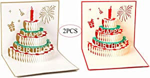 JAZZUP 3D Happy Birthday Cake Pop Up Card, 3 Layers Cake Card Birthday Card Birthday Greeting Card with Red Cute Candle with Envelope Stickers(2 Cards&Envelopes)