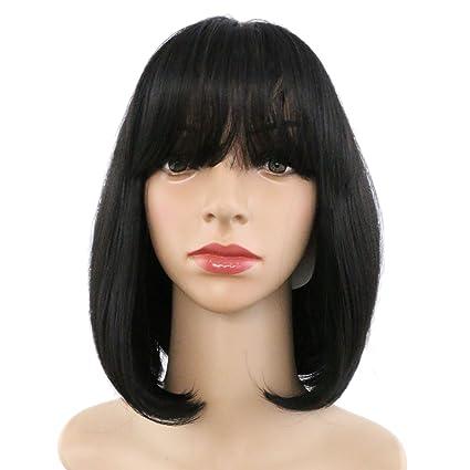 Eseewigs mujeres hermosas peluca de pelo corto y recto 1b negro peluca de cosplay fiesta de