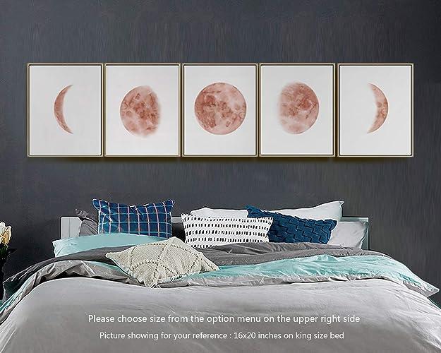 Amazon Com Moon Phases Wall Art Print Watercolor Prints Bedroom