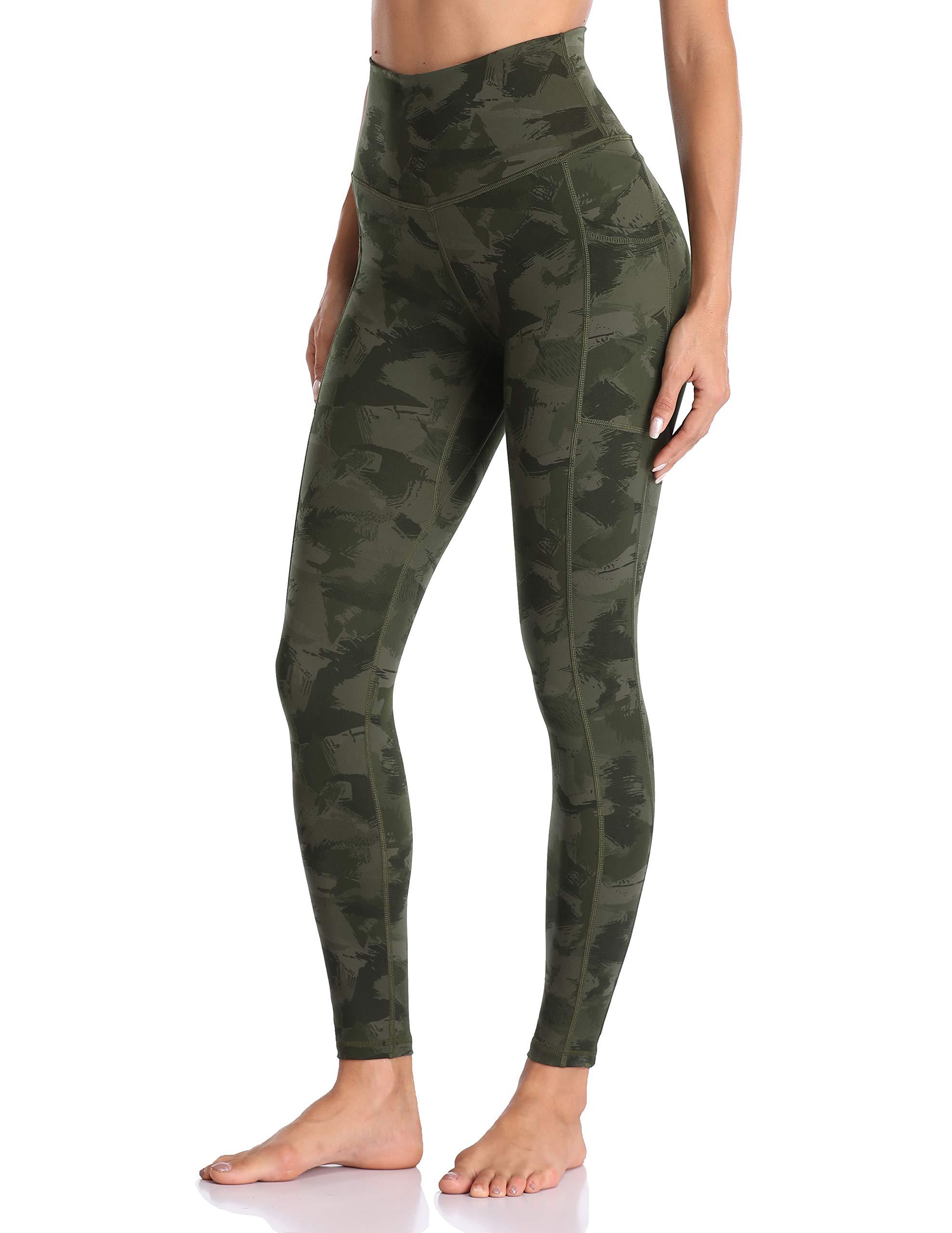 Colorfulkoala Women's High Waisted Yoga Pants 7/8 Length Leggings with Pockets (XS, Army Green Splinter Camo) by Colorfulkoala