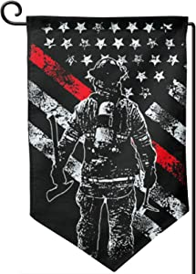 Retro Firefighter Thin Red Line Small Garden Flag Vertical Double Sided 12.5 x 18 Inch Farmhouse Summer Yard Outdoor Decor