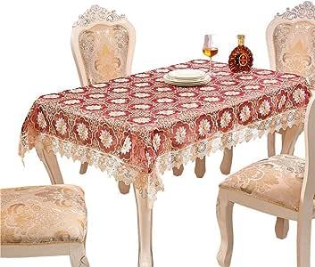 adasmile hecho a mano encaje Tejido Patrones de ganchillo mantel con rojo flores para rectangular Tables para fiesta, boda, Golden, 36