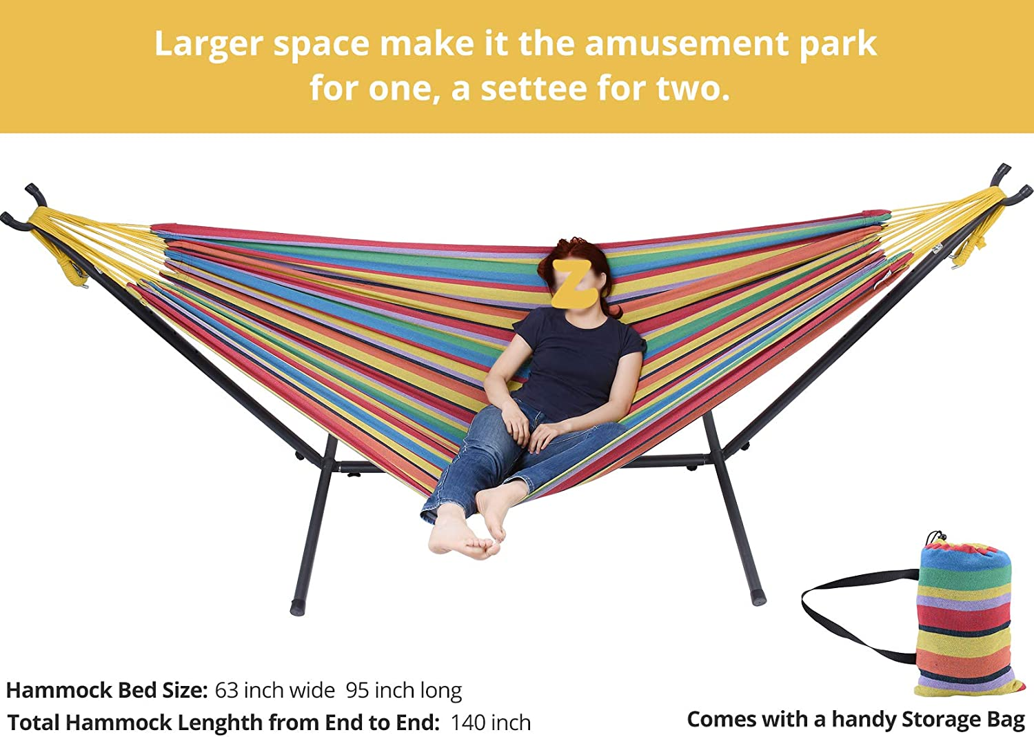 Rainbow Color Adjustable Steel Hammock Stand and Extra-Large Cotton Hammock, Camping Indoor Outdoor Use 550 Pound Capacity Portable for Backyard Zupapa Hammock with Stand 2 Person