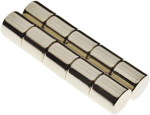 Imanes de neodimio, diseño de discos de 10 x 10 mm, muy fuertes, pack de 10: Amazon.es: Hogar