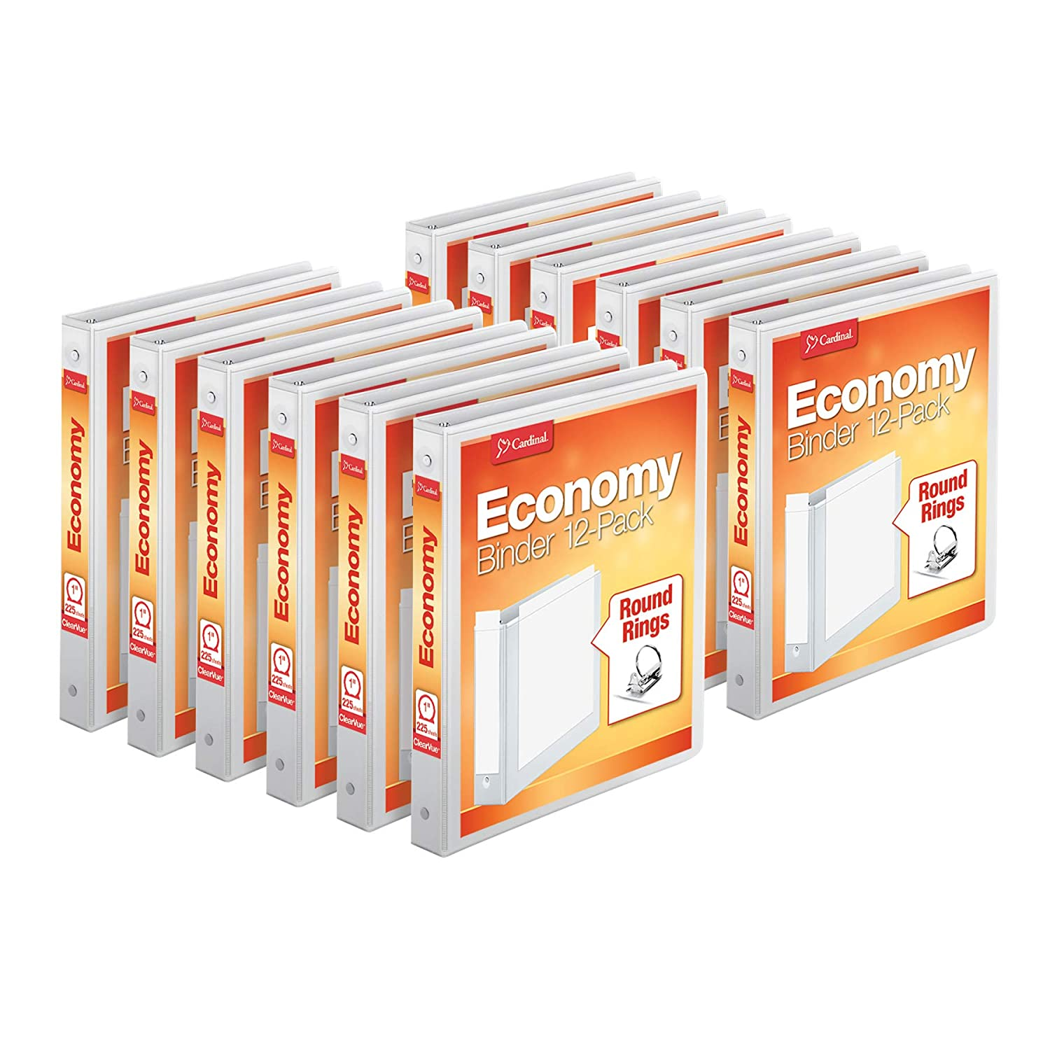 """Cardinal Economy 3-Ring Binders, 1"""", Round Rings, Holds 225 Sheets, ClearVue Presentation View, Non-Stick, White, Carton of 12 (90621)"""