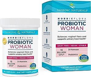 Nordic Naturals Nordic Flora Probiotic Woman - 60 Capsules - 7 Probiotic Strains with 15 Billion Cultures - Balances Vaginal Flora & Supports Urinary Tract Health - Non-GMO, Vegan - 30 Servings