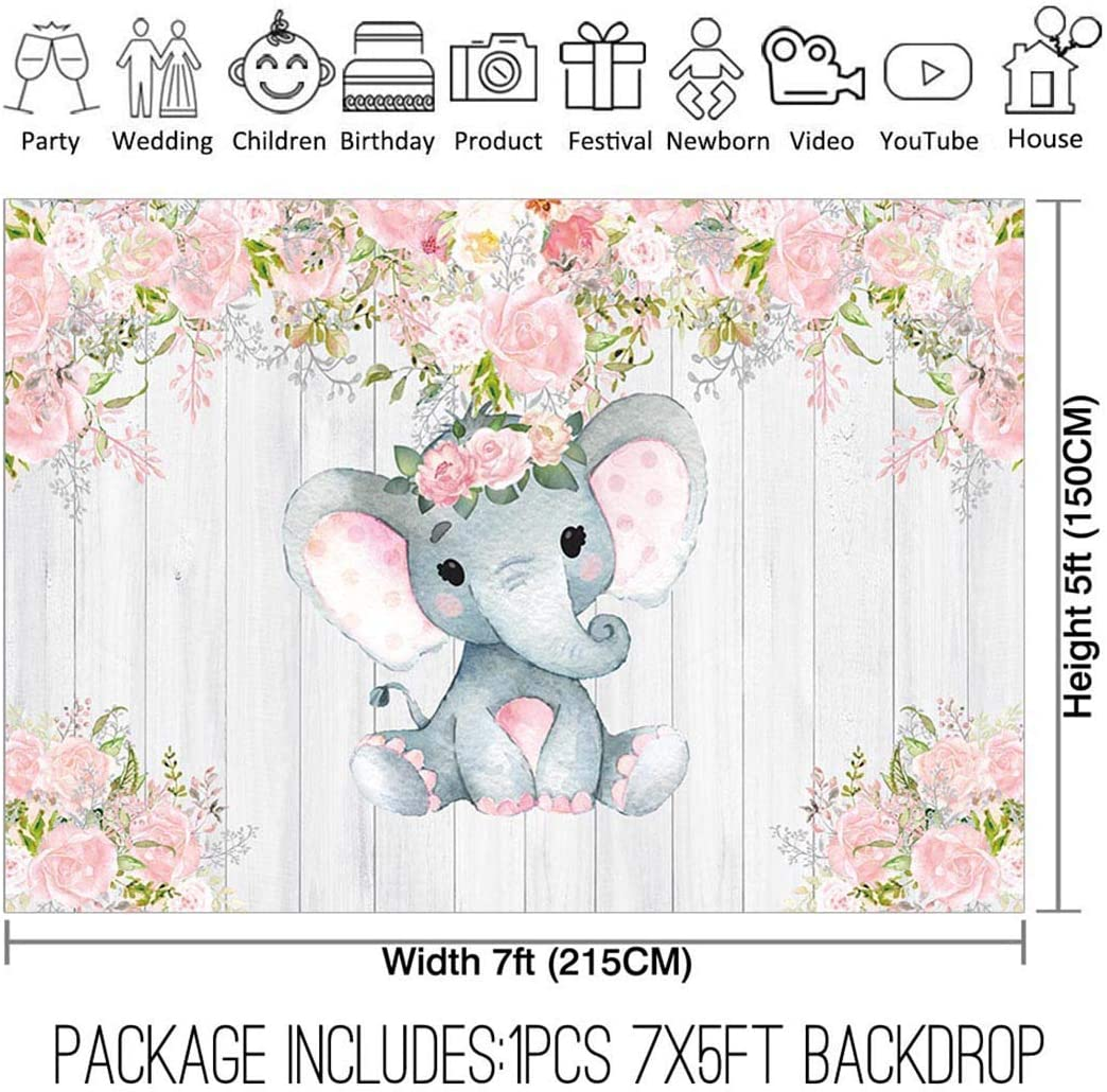 Amazon Com Allenjoy 7x5ft Rustic Floral Elephant Backdrop For