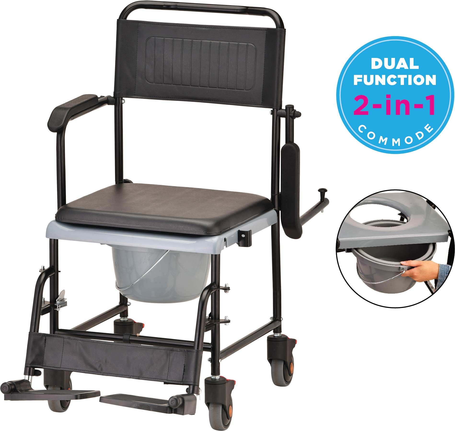 NOVA Drop Arm (for Easy User Transfer) Transport Chair Commode, Rolling with Locking Wheels & Removable Padded Seat by NOVA Medical Products