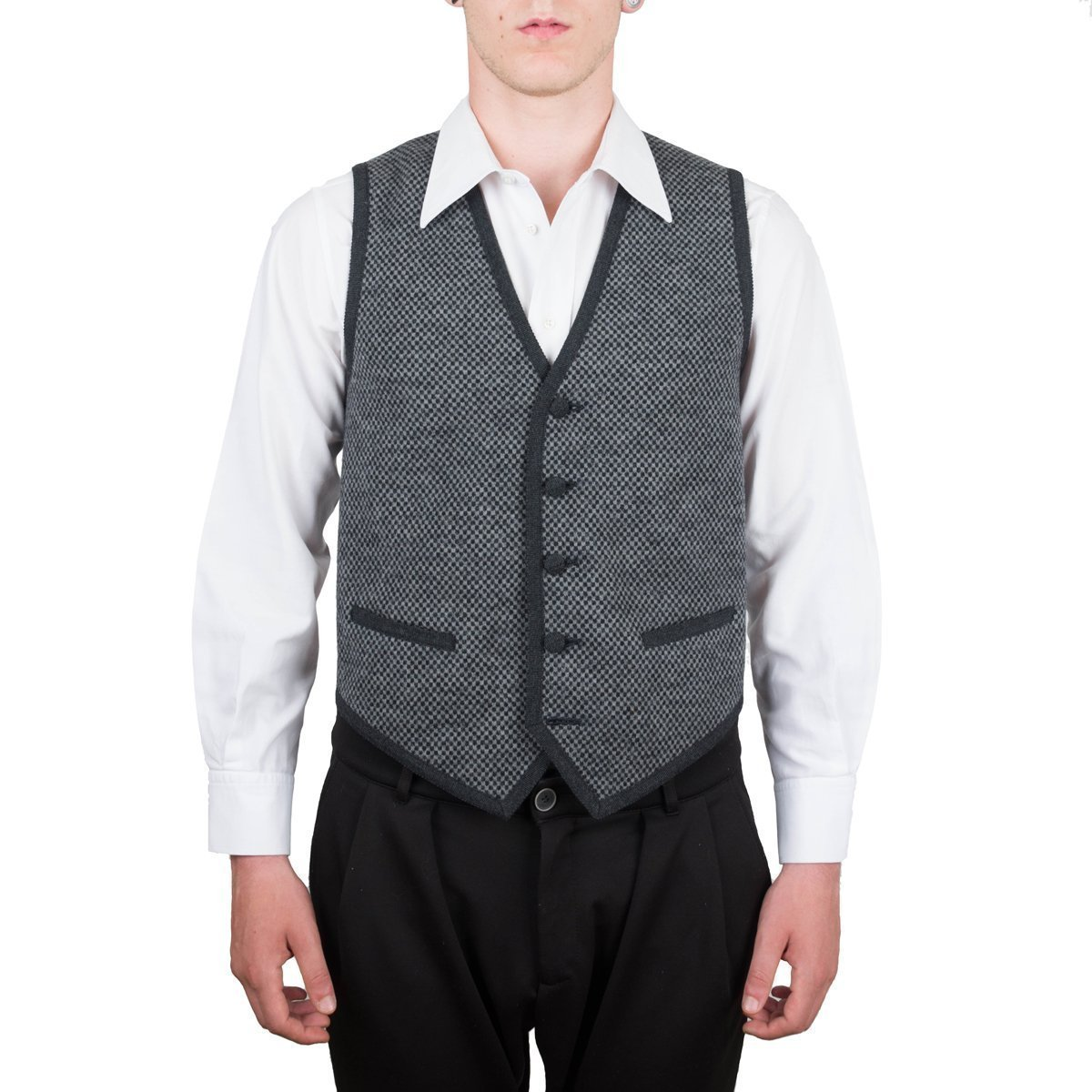 Vest, Gilet, Waistcoat, Knitwear, Men, Boy, Black, Grey, Check, Wool, Buttons, Pockets, Casual, Business, Formal, Sleeveless, Italian Fabric, Italian Style, Made in Italy, Handmade