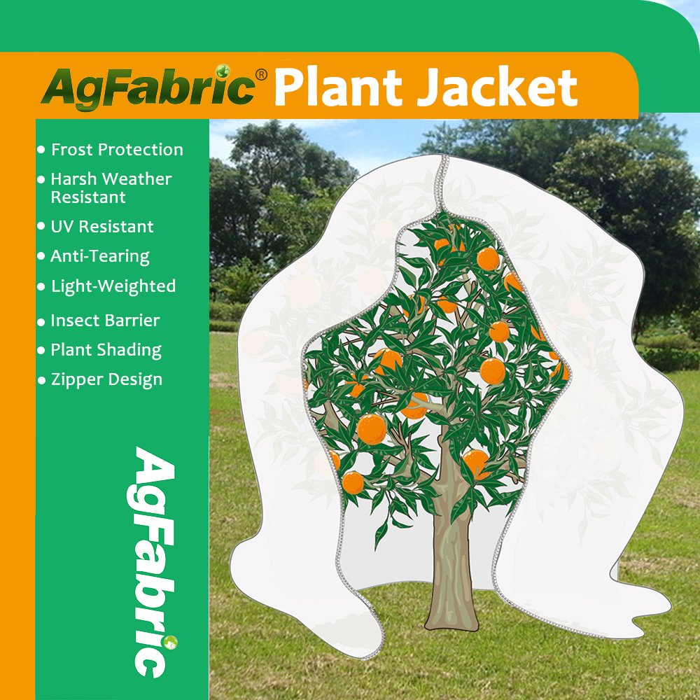 Agfabric Plant Cover Warm Worth Frost Blanket - 0.95 oz Fabric of 96''x 96'' Shrub Jacket, Rectangle Plant Cover with Zipper for Season Extension&Frost Protection