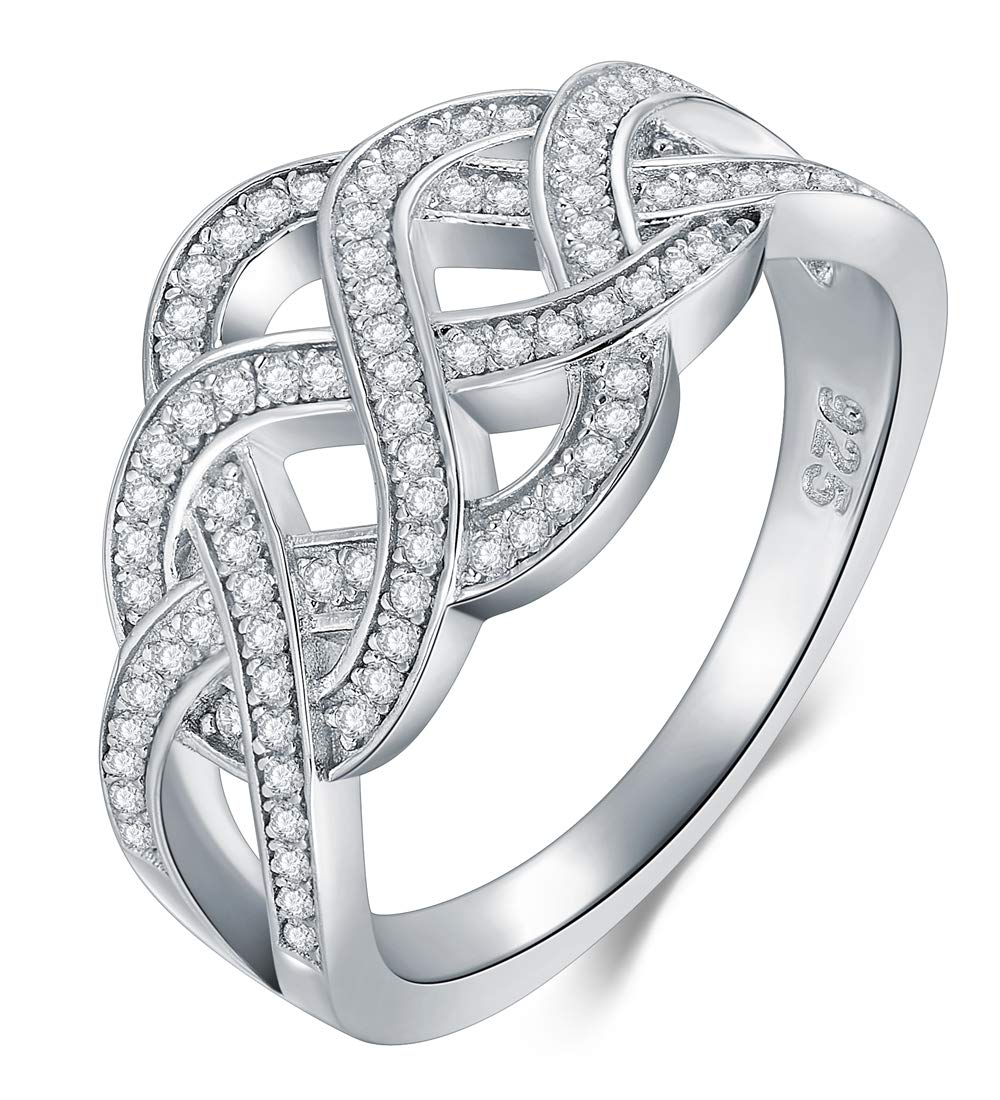 BORUO 925 Sterling Silver Ring, Celtic Knot Cubic Zirconia CZ Wedding Band Stackable Ring Size 7