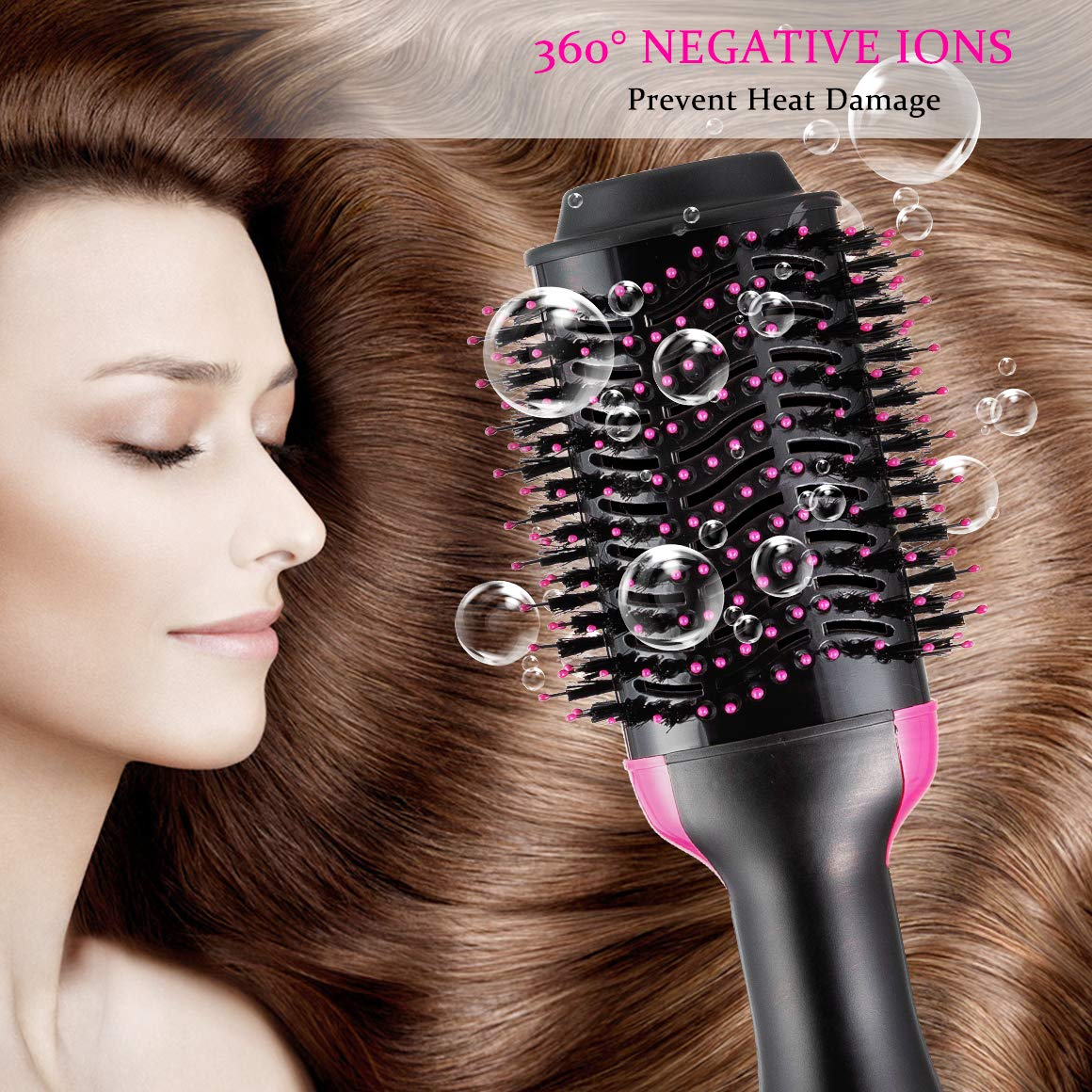 One Step Hair Dryer & Volumizer, Hot Air Brush All In One Hair Brush and Dryer Professional Negative Ion Hair Hot Comb, Black by Gelma (Image #5)
