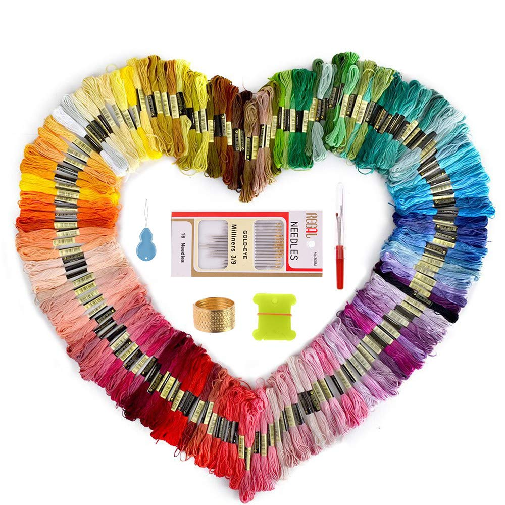 Embroidery Thread and Embroidery floss – Sotica 150 Skeins Embroidery Floss with 16 Pcs Embroidery Needles,friendship bracelet string,Cross Stitch Threads and Cross Stitch Tool Kit, Perfect Embroidery Kit for DIY, Bracelets, Embroidery Allway store NJ-21