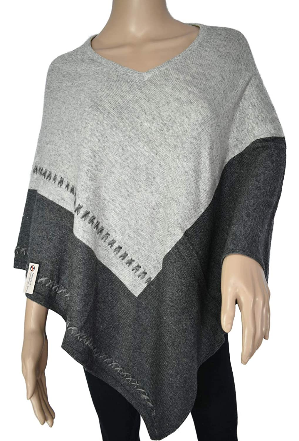 Grey and Black Exclusive Cashmere Poncho  Natural color Pure Himalayan Cashmere  Handmade in Nepal
