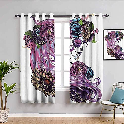 Gothic Decor Collection Black Out Curtain Panels
