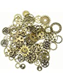 SSEELL Steampunk Gears and Cogs Bulk 100 g for Craft Jewelry Accessories (Bronze)