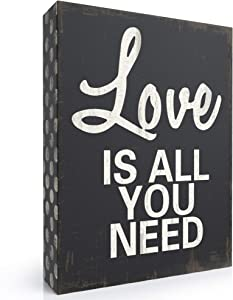Barnyard Designs Love is All You Need Wooden Box Wall Art Sign, Primitive Country Farmhouse Home Decor Sign with Sayings 8 x 6