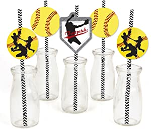 Grand Slam - Fastpitch Softball - Paper Straw Decor - Birthday Party or Baby Shower Striped Decorative Straws - Set of 24