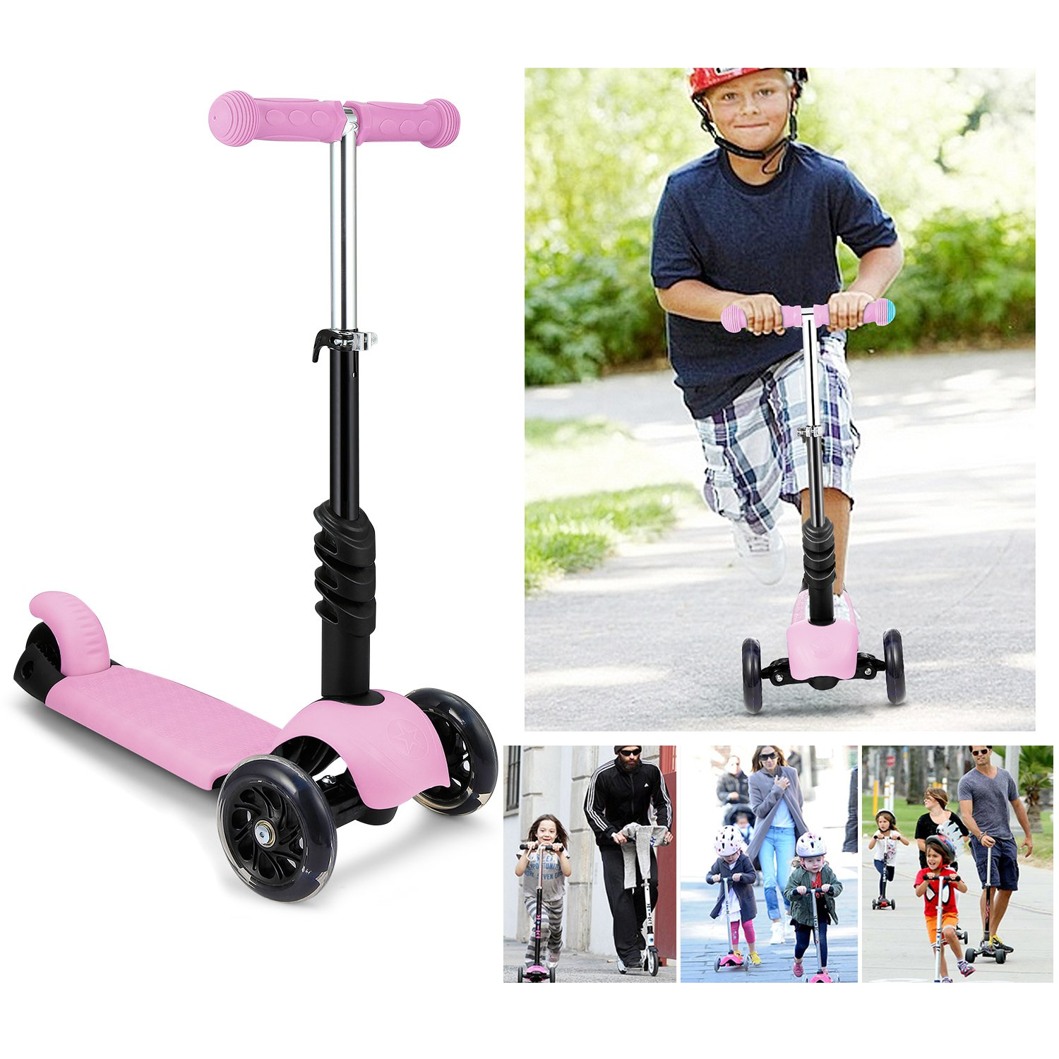 WeSkate Kids Children Scooter 3 Wheel Kick Scooter with Adjustable Height Removable /& Adjustable Seat T-Handlebar and LED Light Up Wheel for Children Boys Girls 2-6Years Old