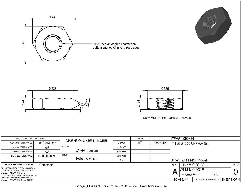 Ti-6Al-4V #10-32 UNF Titanium Hex Nut Allied Titanium 0000234, Grade 5 Pack of 20