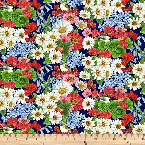 Henry Glass & Co. America The Beautiful Birds And Flowers Blue/Multi Fabric Fabric by the Yard ()