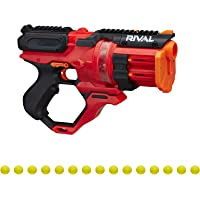 Nerf Rival Roundhouse XX-1500 Red Blaster -- Clear Rotating Chamber Loads Rounds into Barrel -- 5 Integrated Magazines…