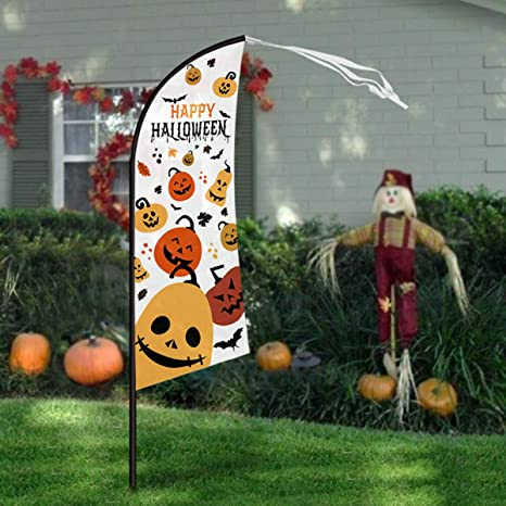 Halloween Yard.Pawliss Halloween Yard Decorations 7 4 Large Feather Flag Swooper Flag With Pole Kit Ghost Pumpkin Garden Flag Halloween Trick Or Treat Party