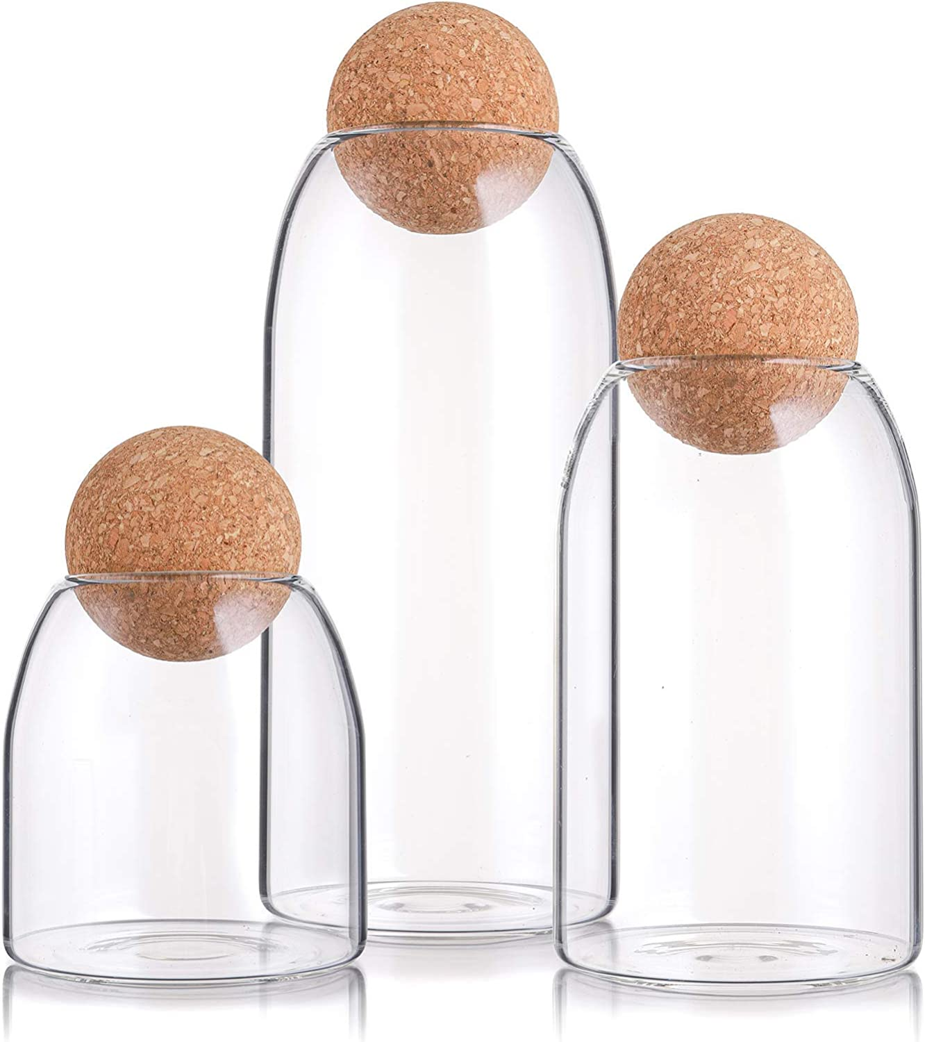 Suwimut 3 Pack Glass Jar with Airtight Seal Wood Lid Ball, Clear Candy Jar Mason Jars Food Storage Canister for Serving Spice Sugar Salt Tea Coffee, 500ML, 900ML, 1200ML