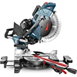 Compound Miter Saw, REYLEO 12-inch, 15Amp Dual-Bevel Sliding Miter Saw with 40T Blade, Laser, and Extensible Table (Multi-ang