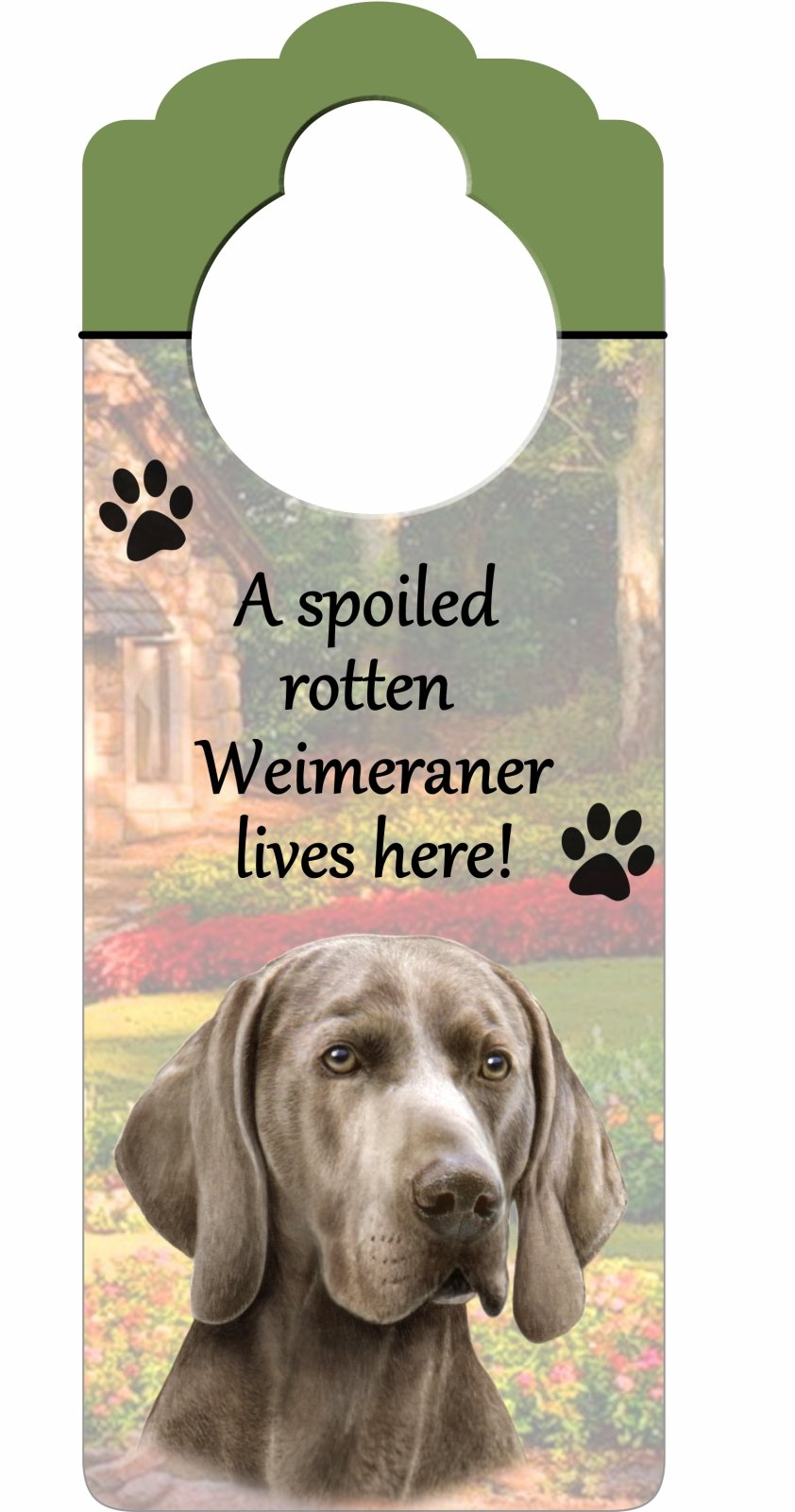 Weimeraner Wood Sign ''A Spoiled Rotten Weimeraner Lives Here''with Artistic Photograph Measuring 10 by 4 Inches Can Be Hung On Doorknobs Or Anywhere In Home