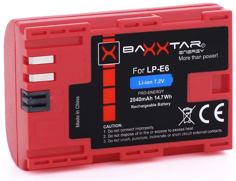Cargador 5en1 Compatible para Bater/ía Canon LP-E6-2X Baxxtar Pro Energy bater/ía Baxxtar Razer 600 II - para Canon EOS 70D 60D 60Da 7D 7D Mark II 6D 5D Mark II III 2040mAh