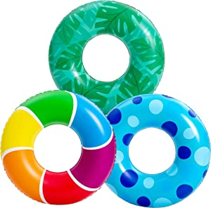 JOYIN 3 Packs 32'' Inflatable Pool Rings for Kids Adults, Pool Tubes Pool Floats Toys, Summer Fun,Beach Water Float Party Outdoor Party Supplies